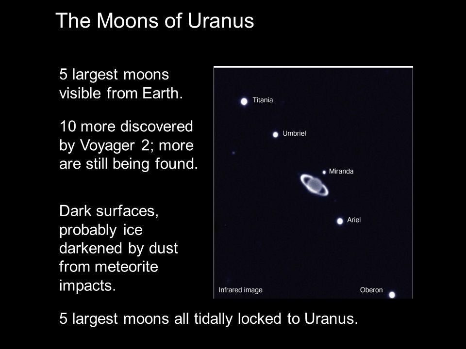 The Moons of Uranus 5 largest moons visible from Earth.