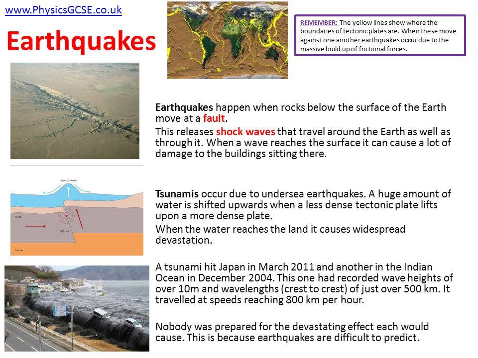 Earthquakes www.PhysicsGCSE.co.uk