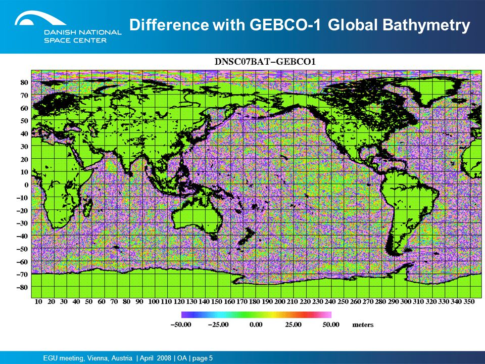 Difference with GEBCO-1 Global Bathymetry