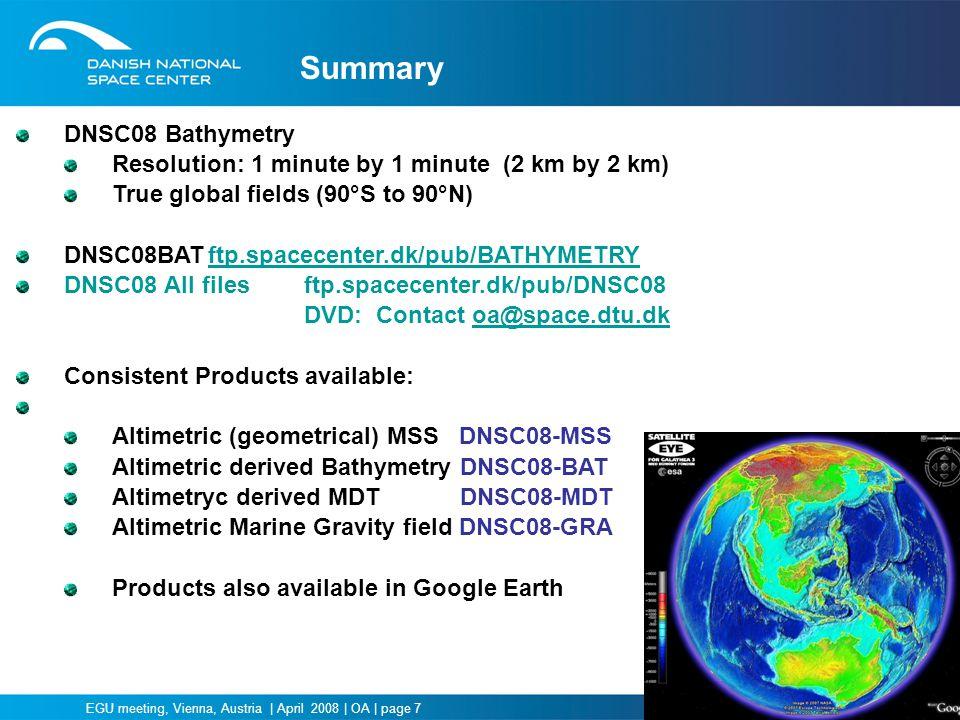 Summary DNSC08 Bathymetry