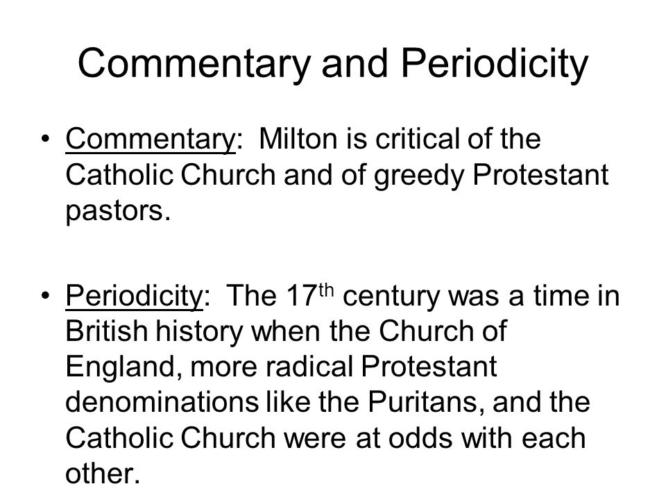 Commentary and Periodicity