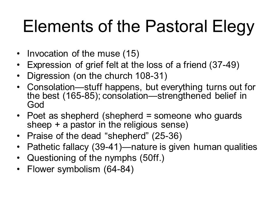 Elements of the Pastoral Elegy
