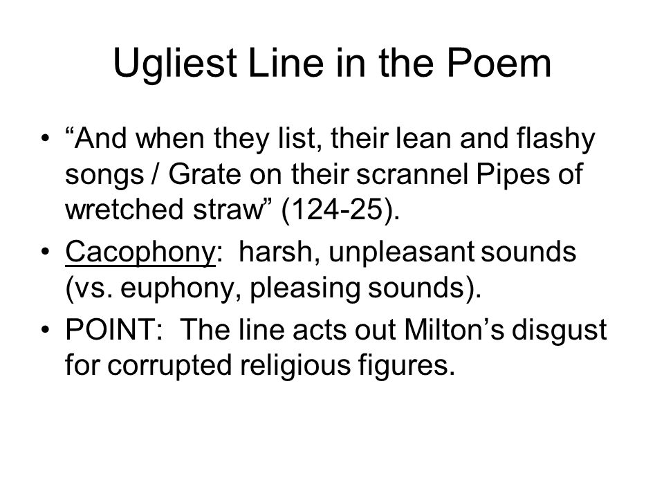 Ugliest Line in the Poem