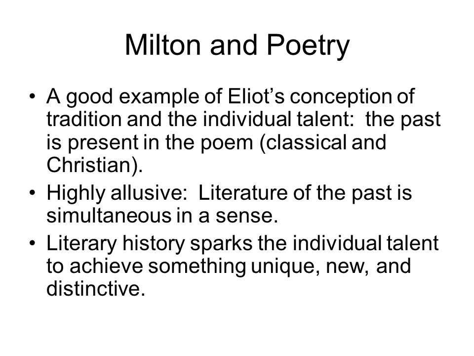 Milton and Poetry