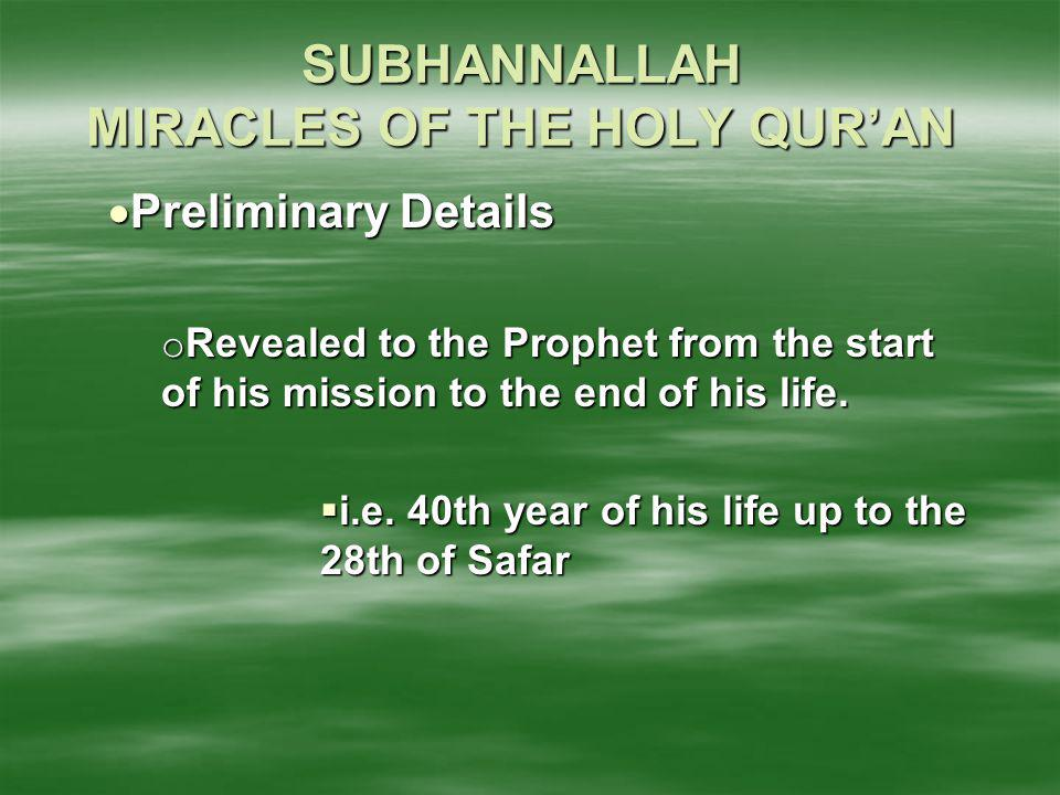 SUBHANNALLAH MIRACLES OF THE HOLY QUR'AN