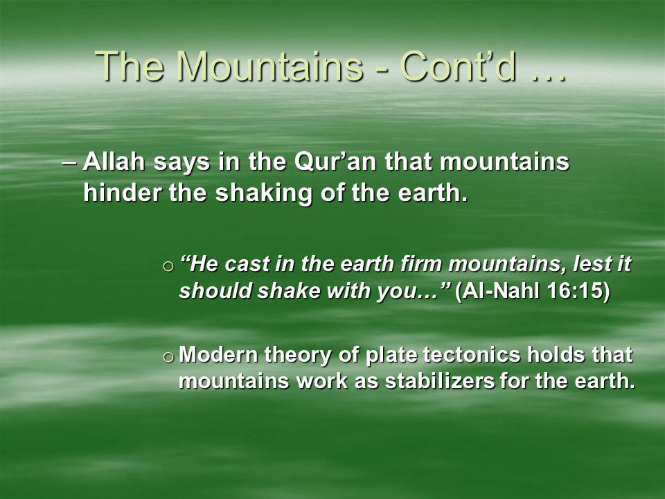 The Mountains - Cont'd …