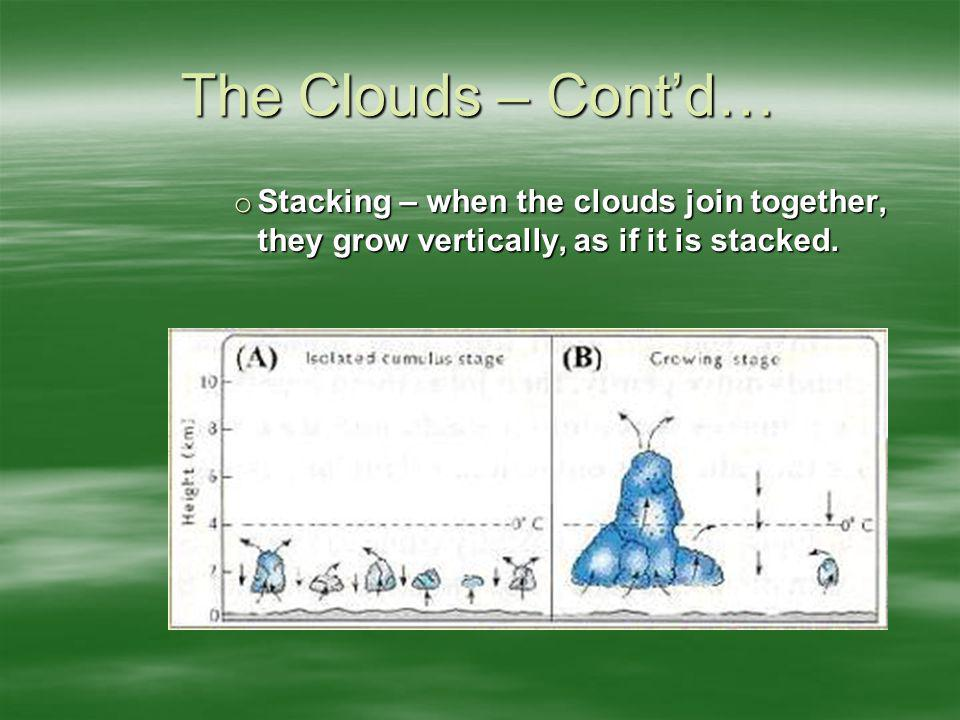 The Clouds – Cont'd… Stacking – when the clouds join together, they grow vertically, as if it is stacked.