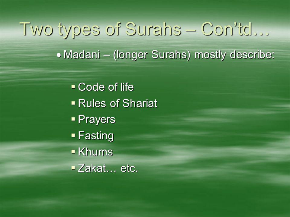 Two types of Surahs – Con'td…