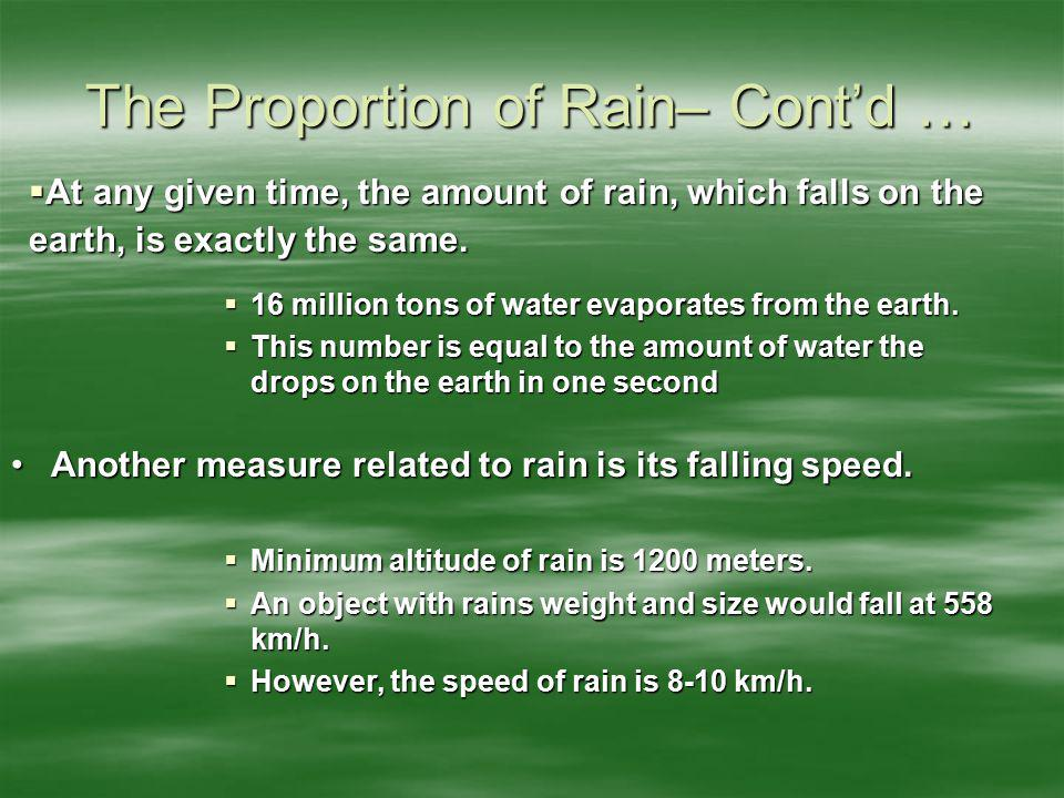 The Proportion of Rain– Cont'd …