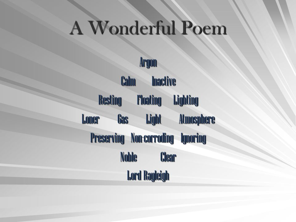 A Wonderful Poem Argon Calm Inactive Resting Floating Lighting
