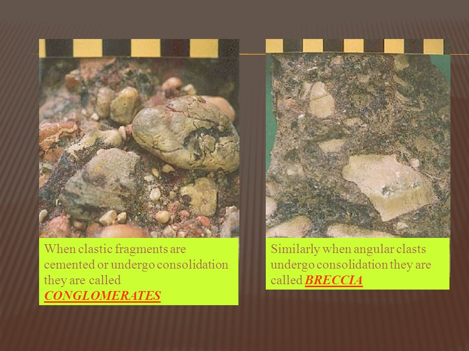When clastic fragments are cemented or undergo consolidation they are called CONGLOMERATES