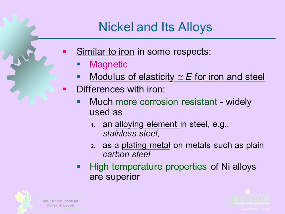 Nickel and Its Alloys Similar to iron in some respects: Magnetic