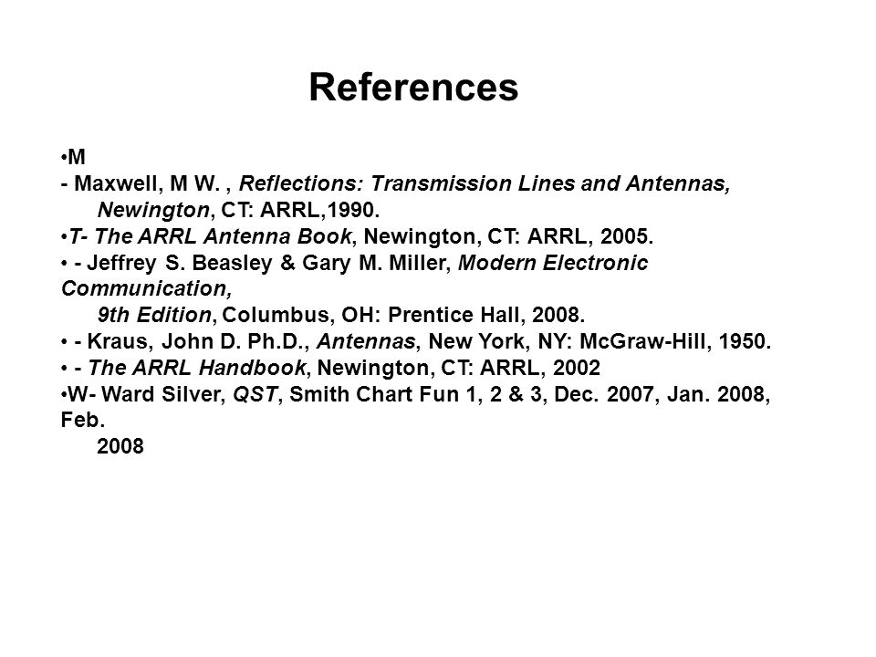 References M. - Maxwell, M W. , Reflections: Transmission Lines and Antennas, Newington, CT: ARRL,1990.