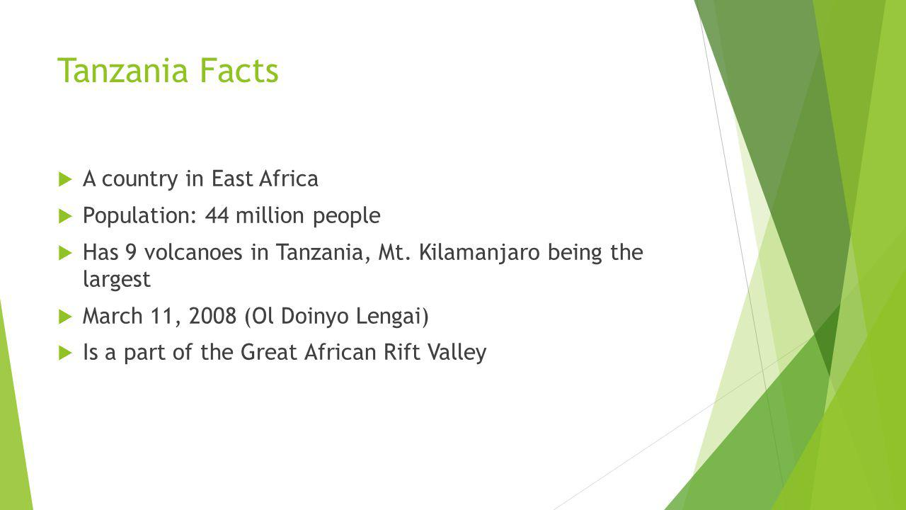 Tanzania Facts A country in East Africa Population: 44 million people