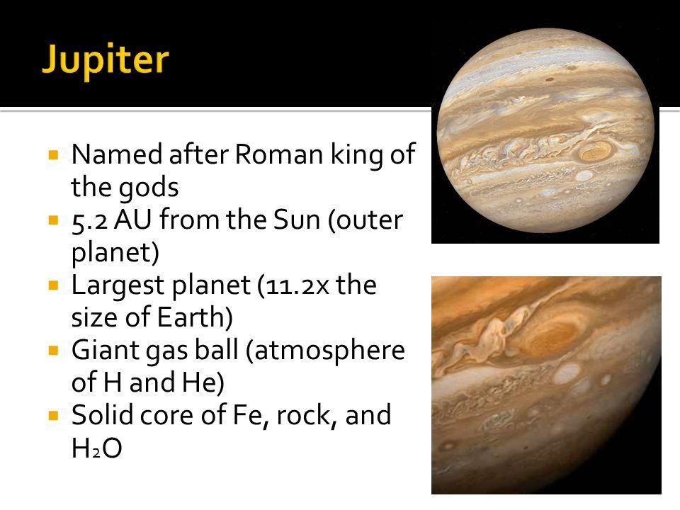 Jupiter Named after Roman king of the gods