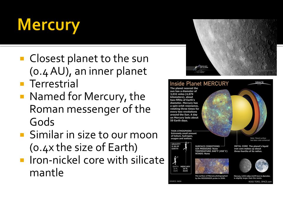Mercury Closest planet to the sun (0.4 AU), an inner planet