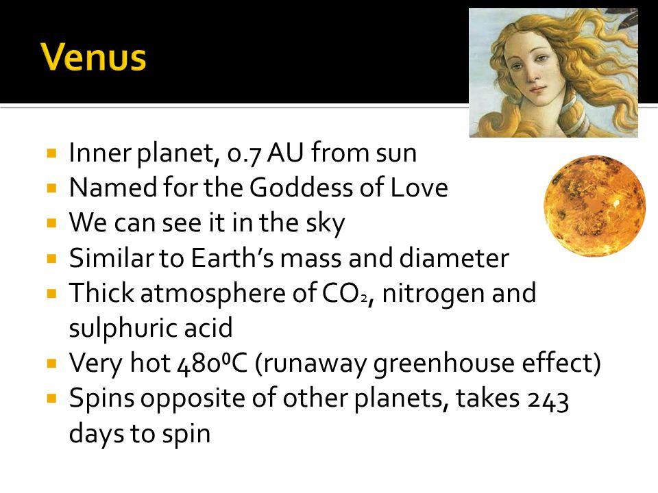 Venus Inner planet, 0.7 AU from sun Named for the Goddess of Love