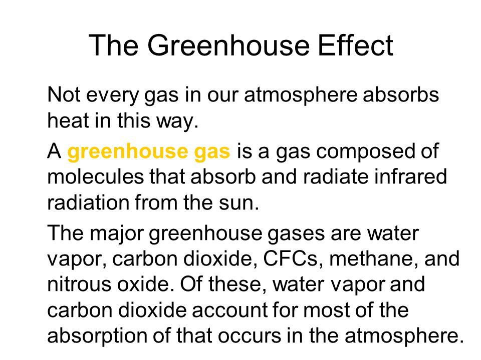 The Greenhouse Effect Not every gas in our atmosphere absorbs heat in this way.