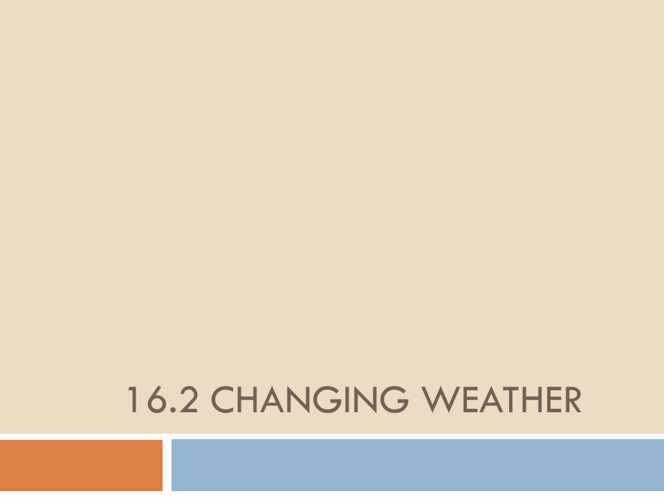 16.2 Changing weather