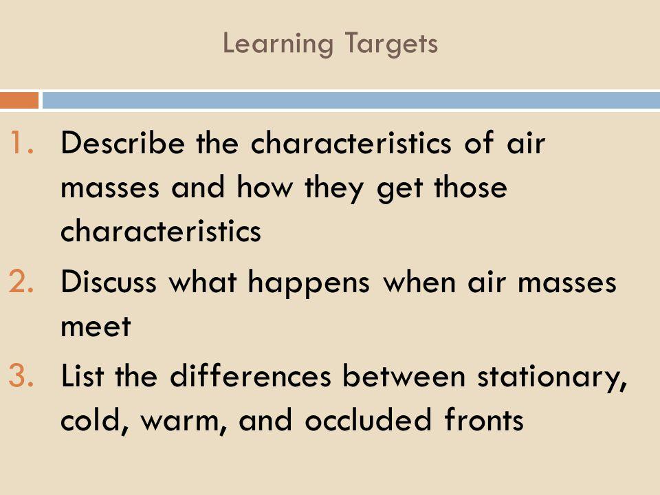 Discuss what happens when air masses meet