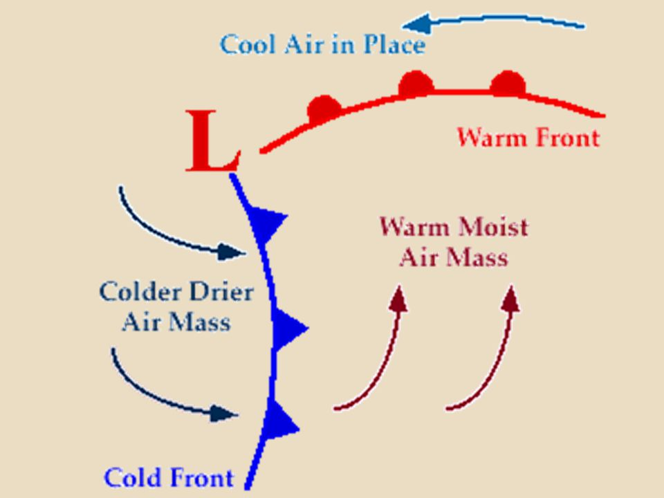 The occlusion starts when a cold front catches up to a warm front.