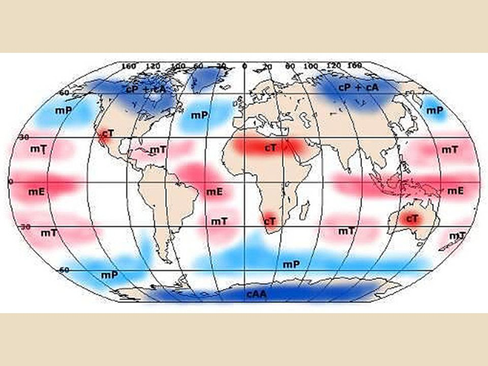 First symbol tells whether the air mass had its origin over a continent (c) or over an ocean (m, for maritime).