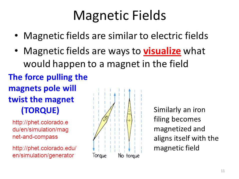 Magnetic Fields Magnetic fields are similar to electric fields