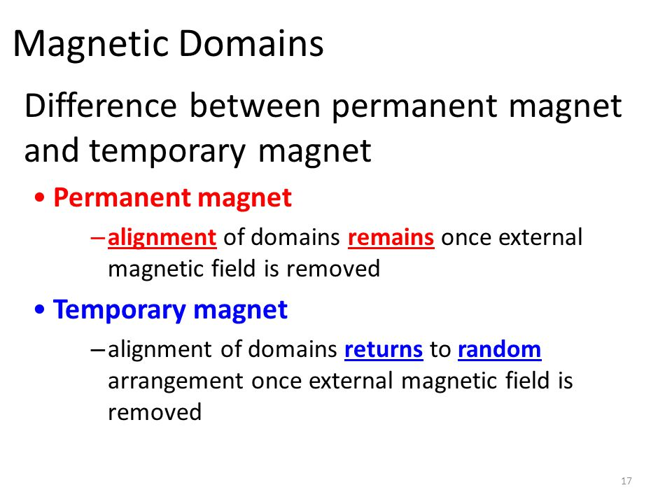 Magnetic Domains Difference between permanent magnet and temporary magnet. Permanent magnet.
