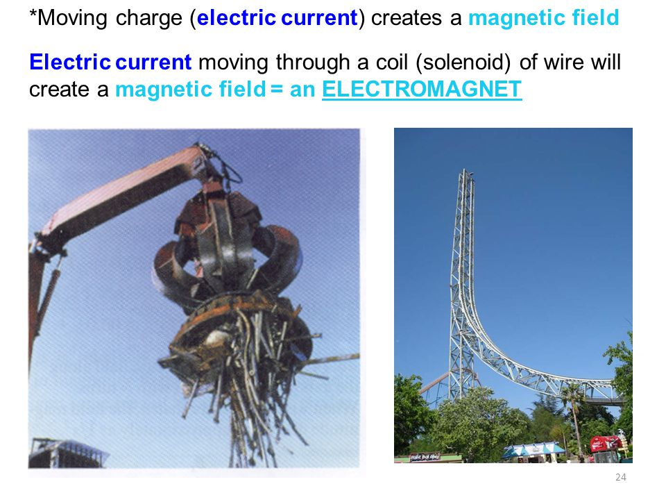 *Moving charge (electric current) creates a magnetic field