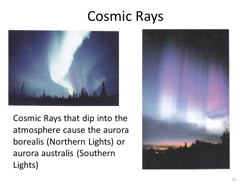 Cosmic Rays Cosmic Rays that dip into the atmosphere cause the aurora borealis (Northern Lights) or aurora australis (Southern Lights)