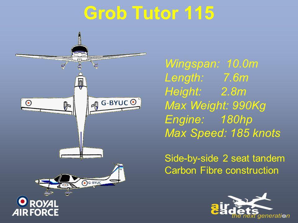 Grob Tutor 115 Wingspan: 10.0m Length: 7.6m Height: 2.8m