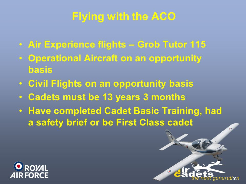 Flying with the ACO Air Experience flights – Grob Tutor 115