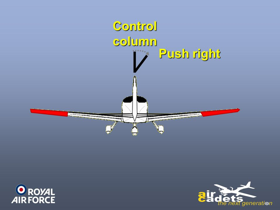 Control column Push right