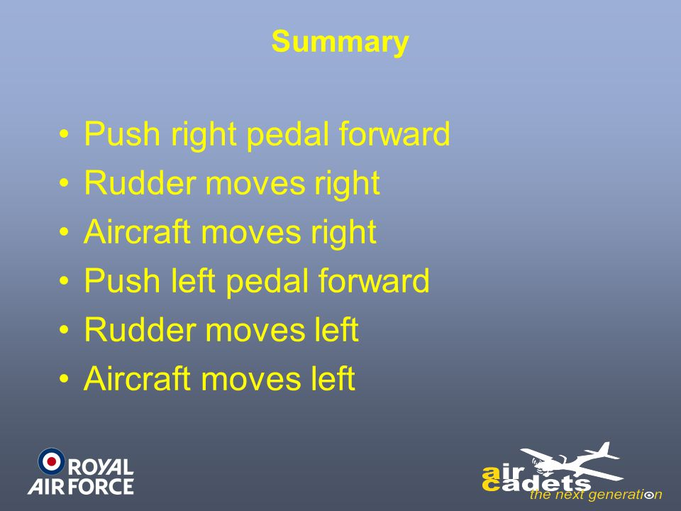 Push right pedal forward Rudder moves right Aircraft moves right