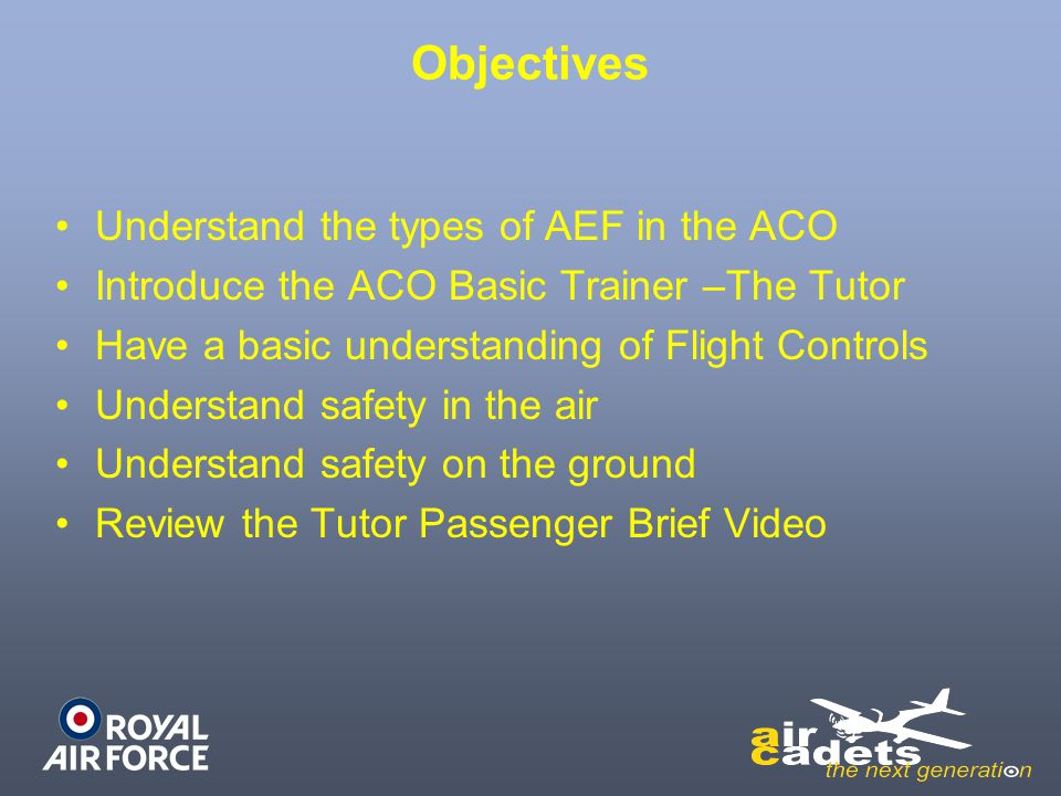Objectives Understand the types of AEF in the ACO