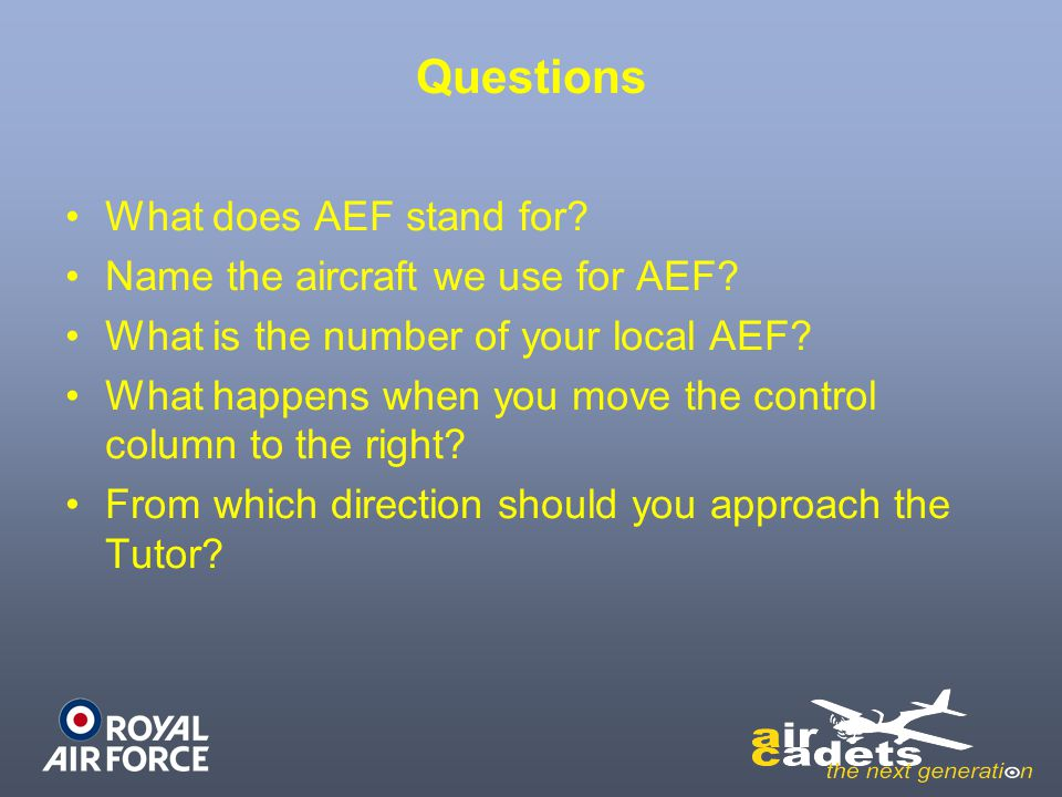 Questions What does AEF stand for Name the aircraft we use for AEF