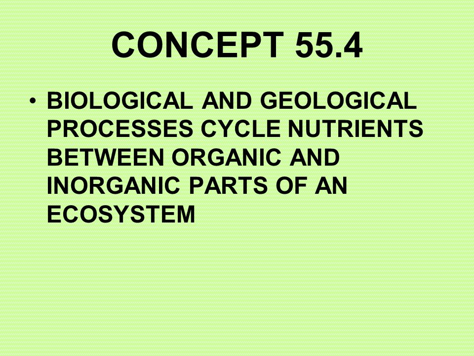 CONCEPT 55.4 BIOLOGICAL AND GEOLOGICAL PROCESSES CYCLE NUTRIENTS BETWEEN ORGANIC AND INORGANIC PARTS OF AN ECOSYSTEM.