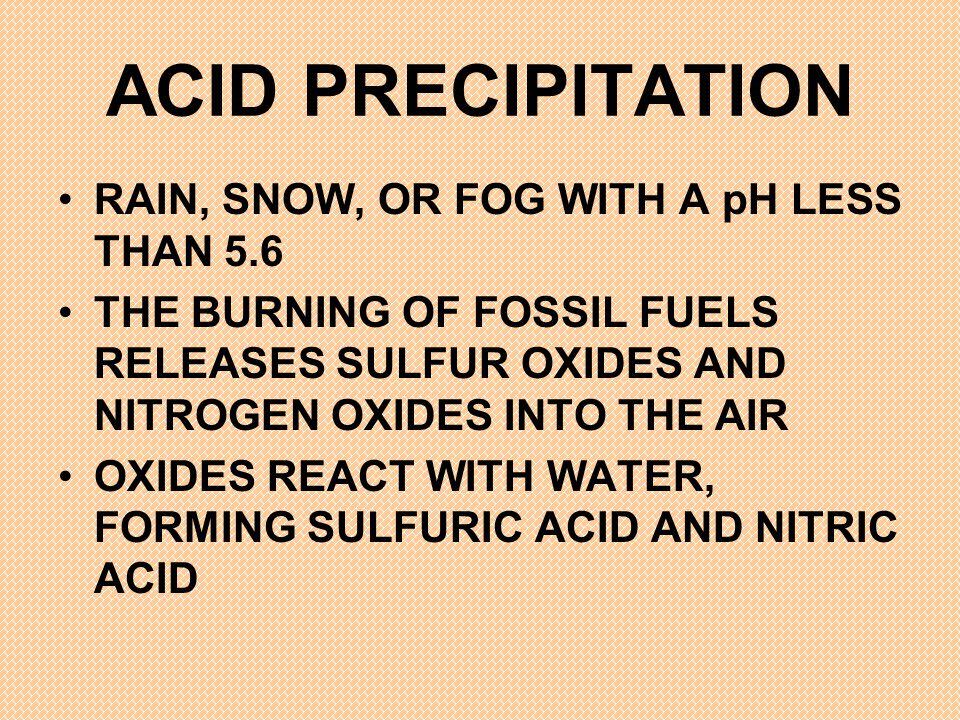 ACID PRECIPITATION RAIN, SNOW, OR FOG WITH A pH LESS THAN 5.6