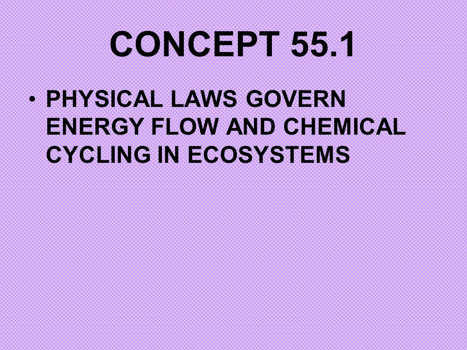 CONCEPT 55.1 PHYSICAL LAWS GOVERN ENERGY FLOW AND CHEMICAL CYCLING IN ECOSYSTEMS