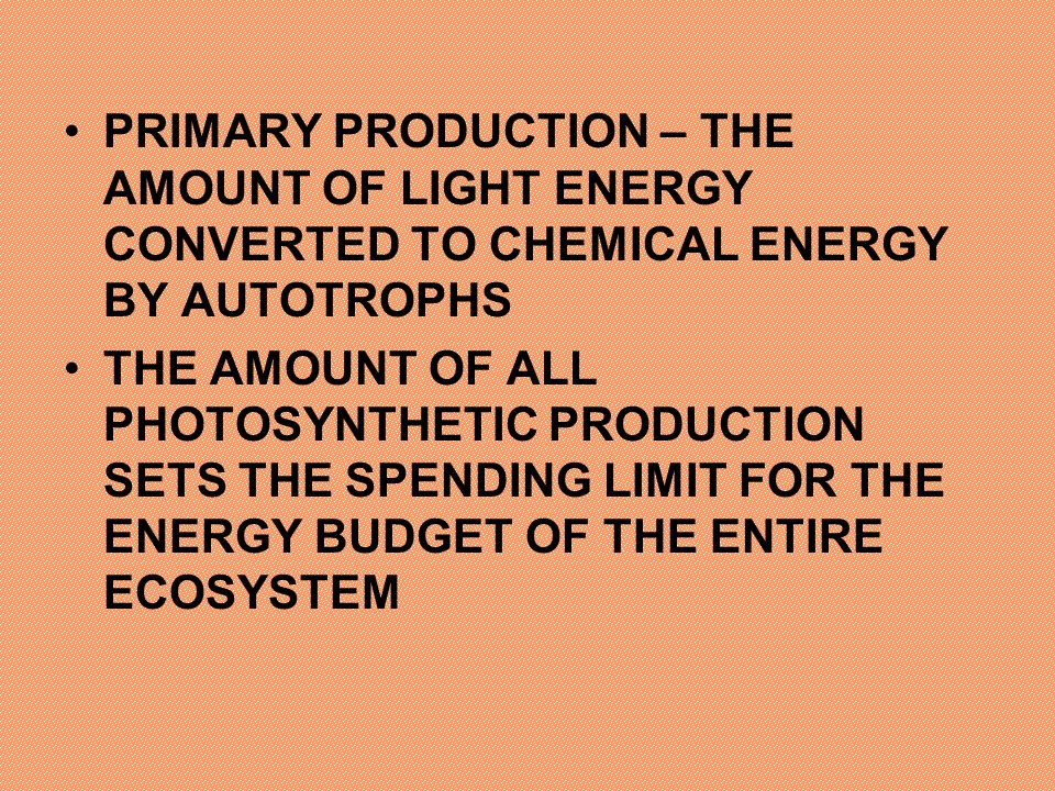 PRIMARY PRODUCTION – THE AMOUNT OF LIGHT ENERGY CONVERTED TO CHEMICAL ENERGY BY AUTOTROPHS