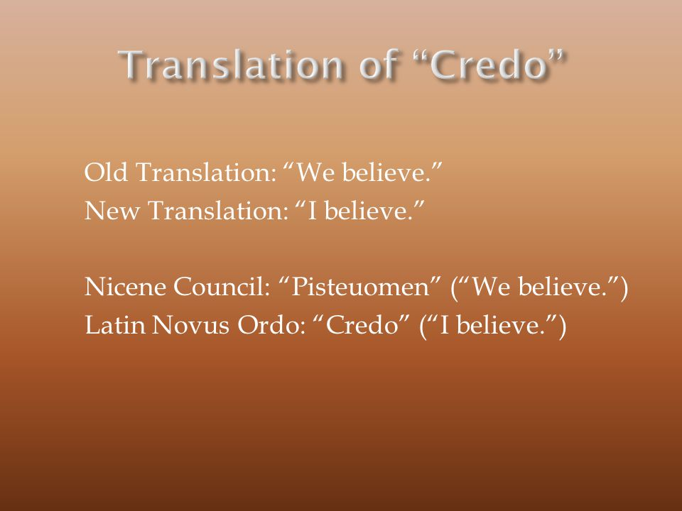 Translation of Credo