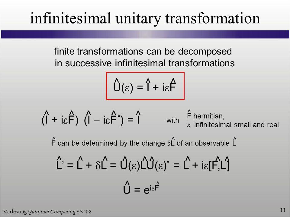 infinitesimal unitary transformation