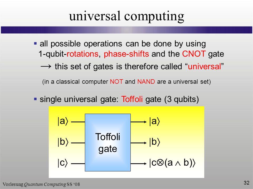 universal computing  a  b  c  c(a  b) Toffoli gate