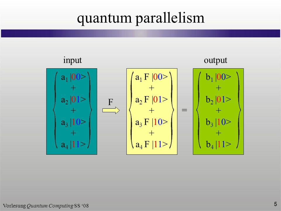 quantum parallelism a1  00> + a2  01> a3  10> a4  11>
