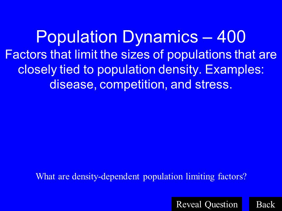 What are density-dependent population limiting factors
