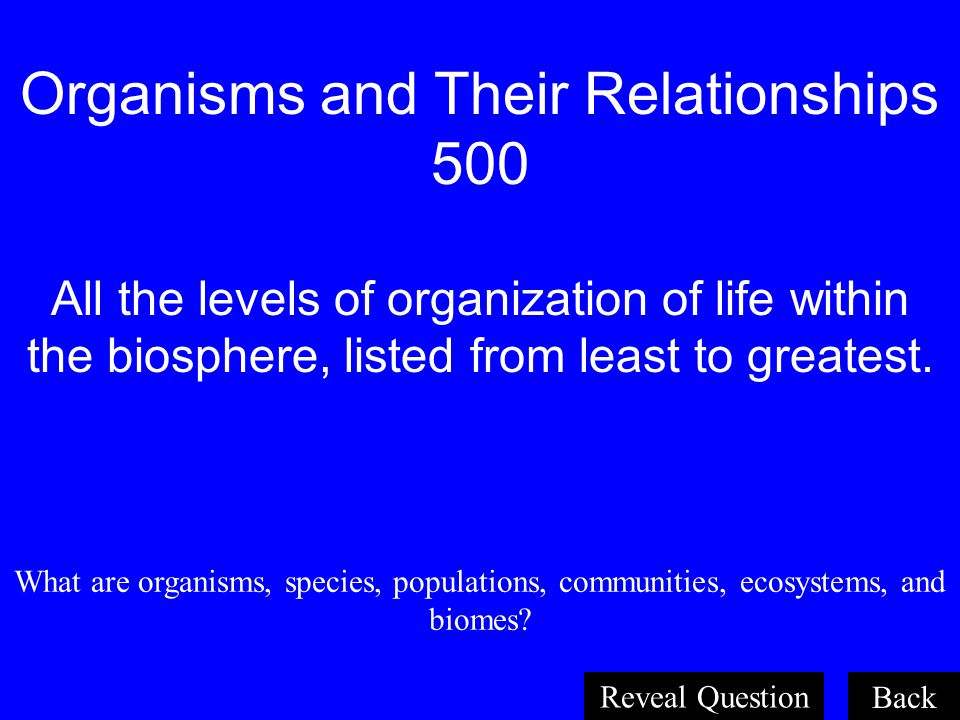 Organisms and Their Relationships 500 All the levels of organization of life within the biosphere, listed from least to greatest.