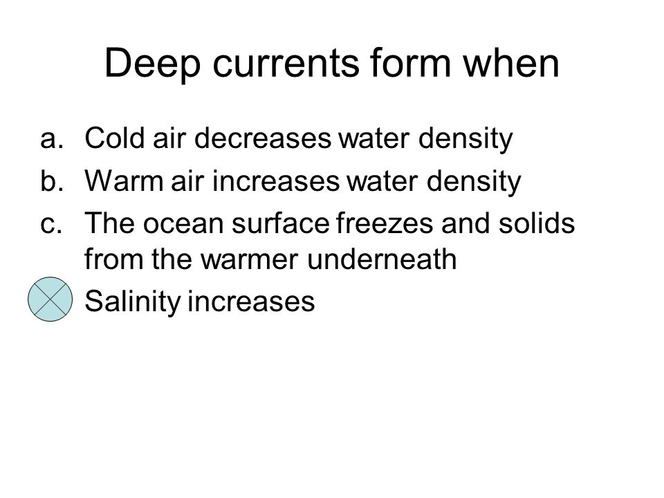 Deep currents form when
