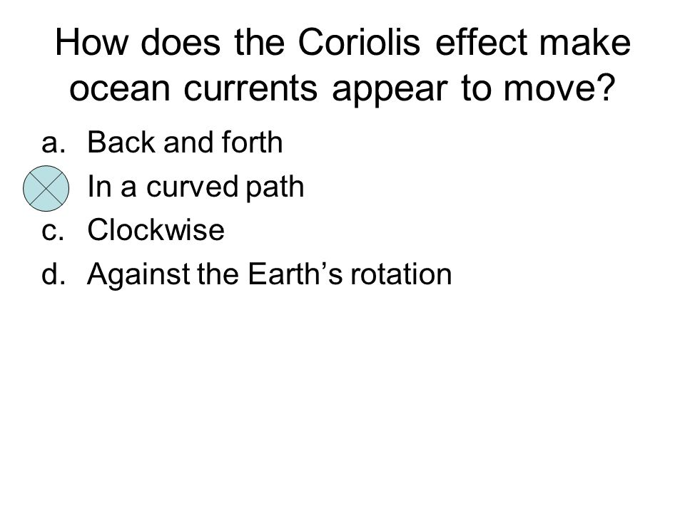 How does the Coriolis effect make ocean currents appear to move