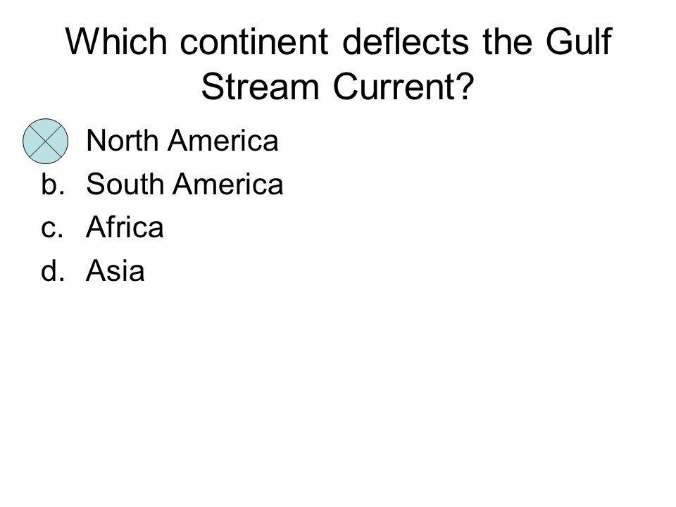 Which continent deflects the Gulf Stream Current