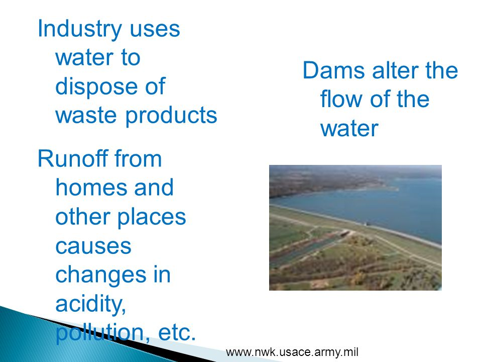 Industry uses water to dispose of waste products